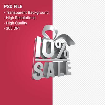 Распродажа 10% с бантом и лентой 3d-дизайн на изолированном фоне