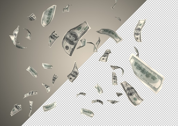 100 долларов денежного дождя - сотни 100 долларов падают сверху