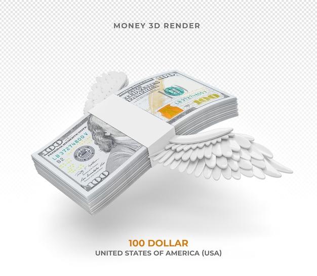 고립 된 날개를 가진 100 달러 지폐