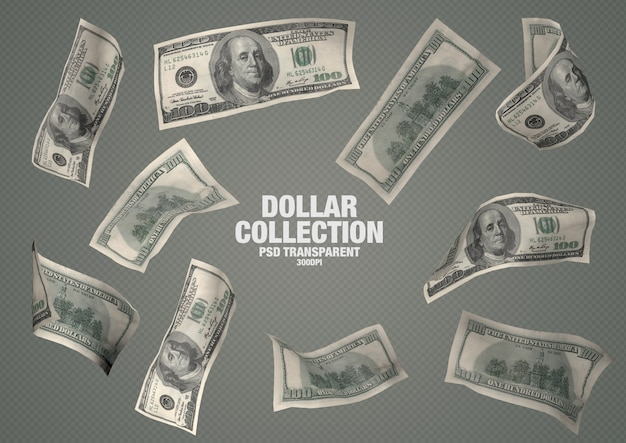 100 dollars collection - 10 isolated banknotes