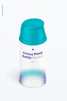 Mockup di bottiglia per pompa airless da 100 ml, vista isometrica