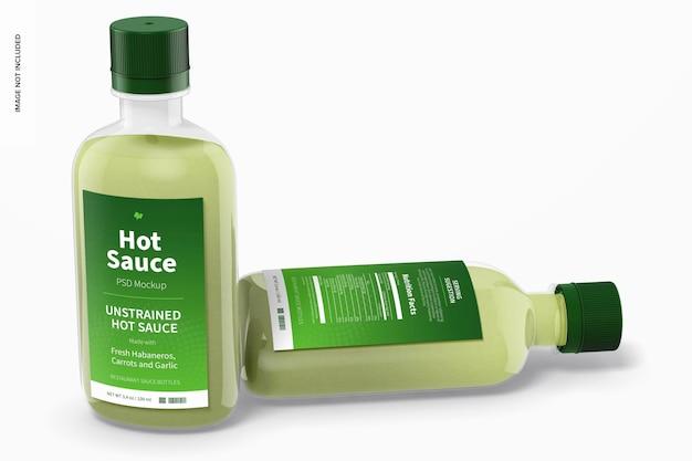 100 ml hot sauce bottles mockup