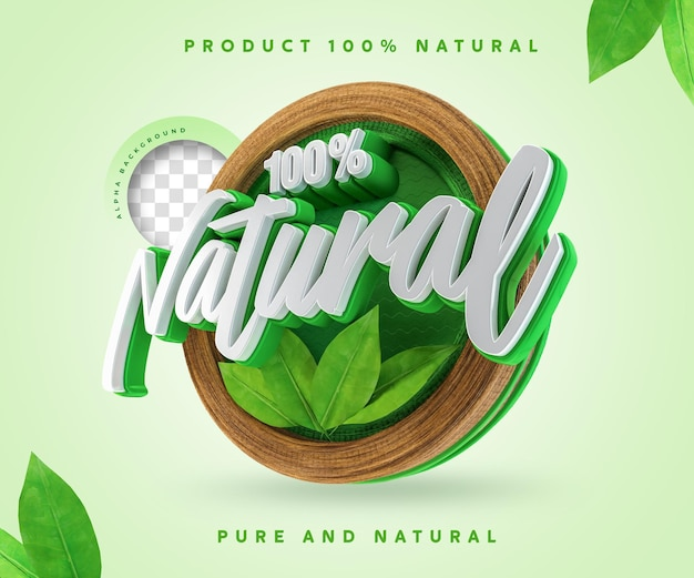 100 percentage natural label 3d 100 percentage sticker symbol