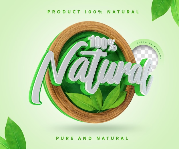 100 percentage natural label 3d 100 percentage sticker symbol