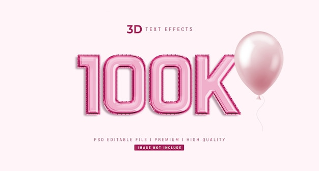 100k 3d text style effect mockup