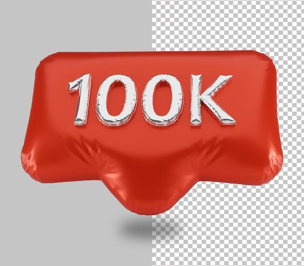 10万人のフォロワーのバルーンお祝い3dレンダリングが分離されました