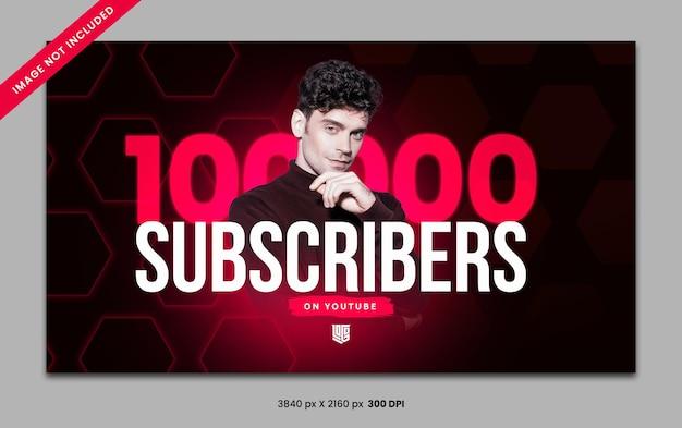 10万人のチャンネル登録者が赤いyoutubeバナーソーシャルメディアテンプレート