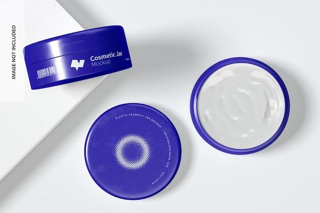 Мокап пластиковых косметических банок 100 мм