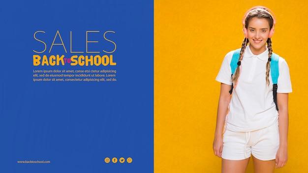 10代の女の子と学校のセールスポスターに戻る