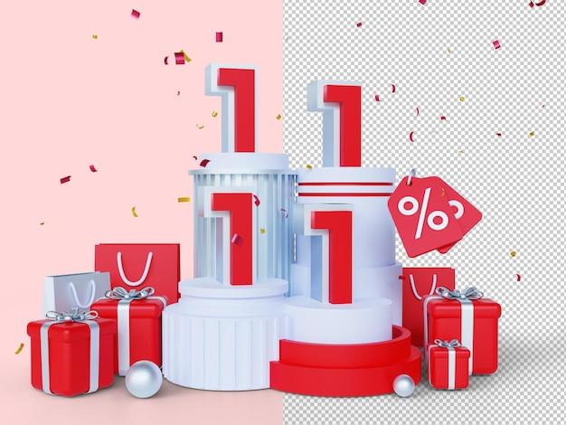 1111 쇼핑의 날 판매 배너 3d 렌더링 개념 11월 11일 메가 세일 글로벌 쇼핑 세계의 날