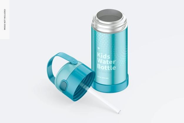 Мокап детской бутылки с водой на 12 унций, открытый вид в изометрии