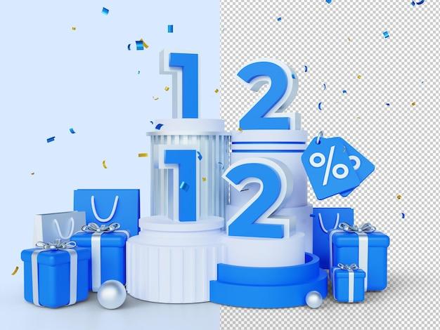 1212 쇼핑의 날 판매 배너 3d 렌더링 개념 12월 12일 메가 판매 글로벌 쇼핑 세계의 날