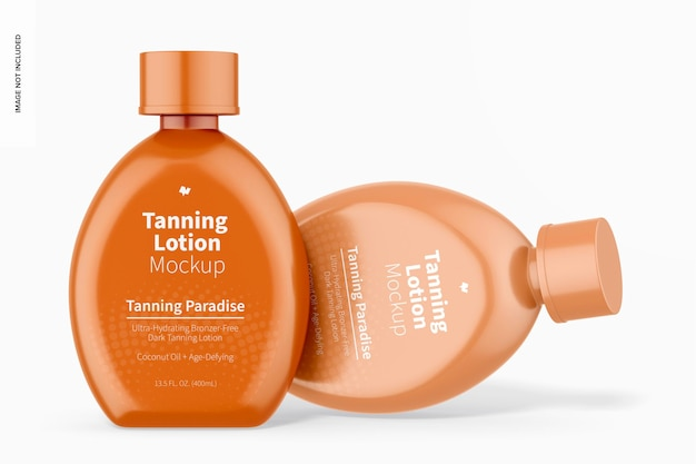 13.5 oz tanning lotion bottles mockup, standing and dropped