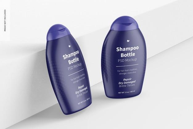 13 oz shampoo bottles mockup, leaned and standing