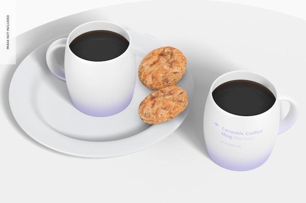 Керамические кофейные кружки на 14 унций, вид в перспективе