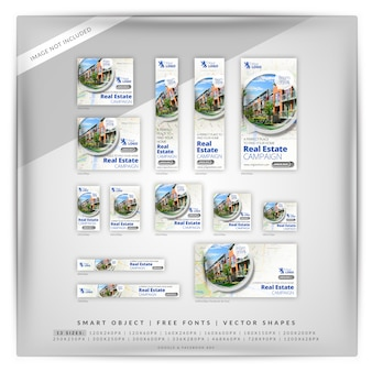 140 map real estate google banner set