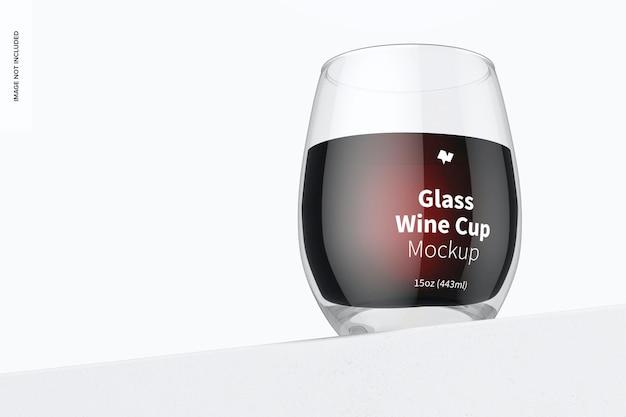 15オンスのグラスワインカップのモックアップ