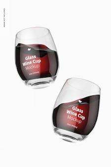 15オンスのガラスワインカップのモックアップ