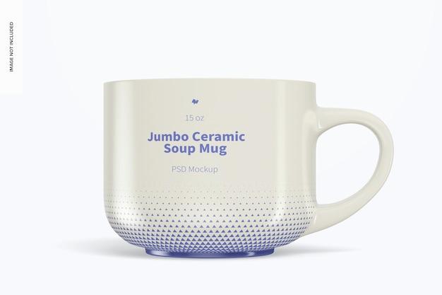 Мокап керамической кружки для супа jumbo 15 унций