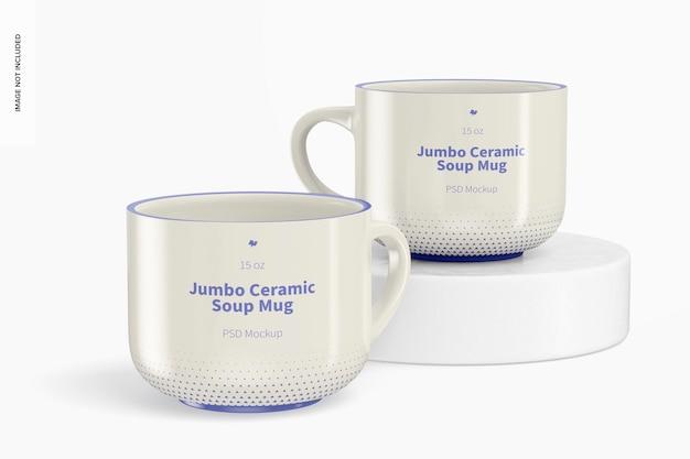 Mockup di tazza da zuppa in ceramica jumbo da 15 once