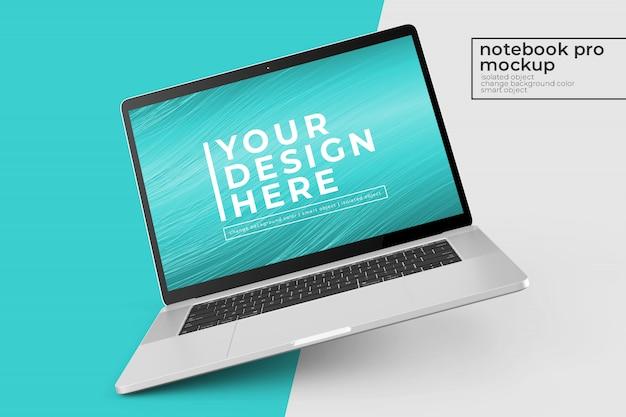 編集可能な15インチのパーソナルpc pro psdモックアップの編集しやすい左回転および中央ビューのデザイン