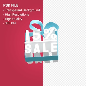 15-процентная распродажа с бантом и лентой 3d-дизайн изолированы