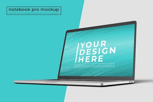 Высококачественный 15-дюймовый ноутбук pro для макетов веб-сайтов и приложений спереди справа