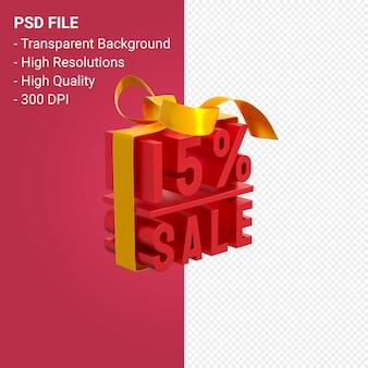 Продажа 15% с бантом и лентой 3d-дизайн на изолированном фоне