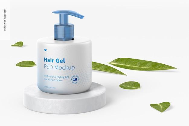 Mockup di gel per capelli da 16,9 once, sulla superficie
