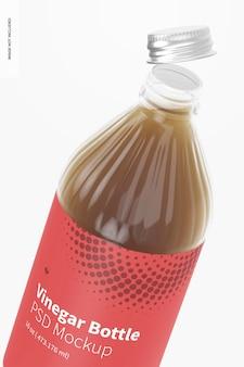 Мокап стеклянной бутылки с уксусом на 16 унций, крупный план
