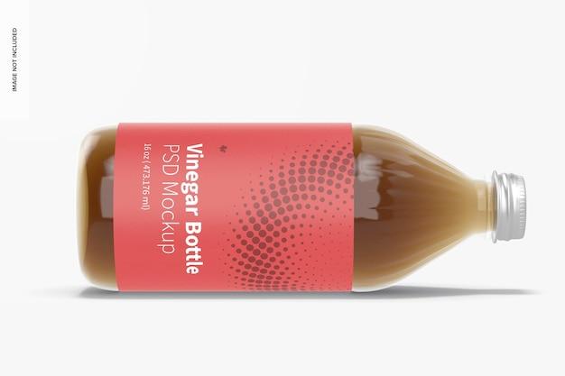 Мокап стеклянной бутылки с уксусом на 16 унций, в каплях