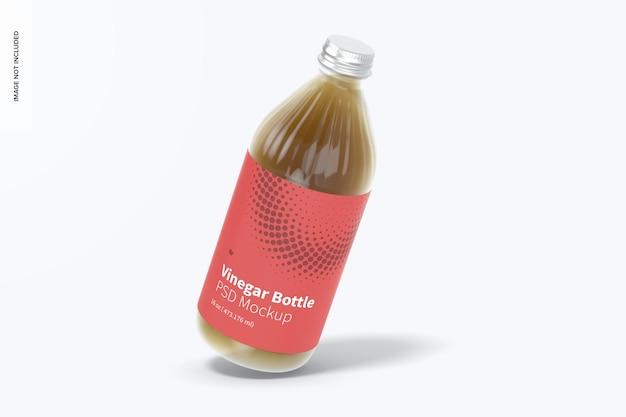 Мокап стеклянной бутылки с уксусом на 16 унций, плавающий
