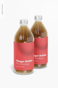 Мокап стеклянных бутылок с уксусом на 16 унций