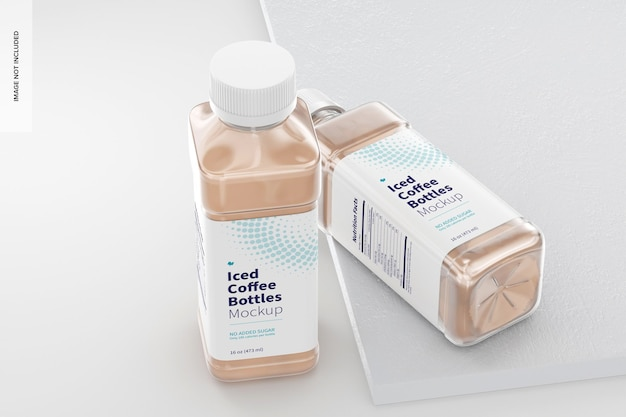 16 oz iced coffee bottles mockup, standing and dropped