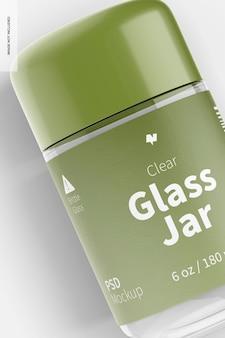 Мокап в прозрачной стеклянной банке 180 мл, крупный план