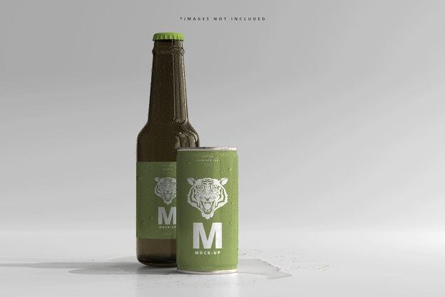 180ml mini soda or beer can and bottle with water drops mockups