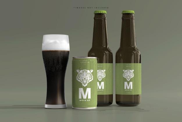 Mini lattina di soda o birra da 180 ml e bottiglia con mockup di gocce d'acqua