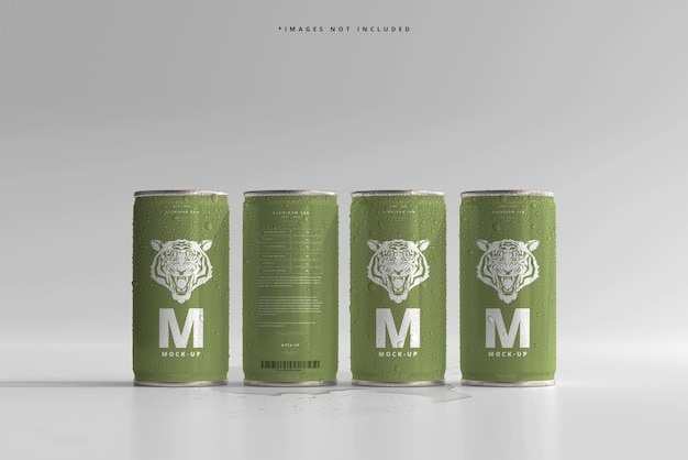 180ml mini soda or beer can with water drops mockups