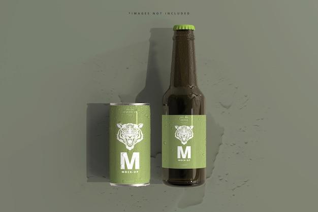 Миниатюрная банка газировки или пива 180 мл и бутылка с мокапами с каплями воды