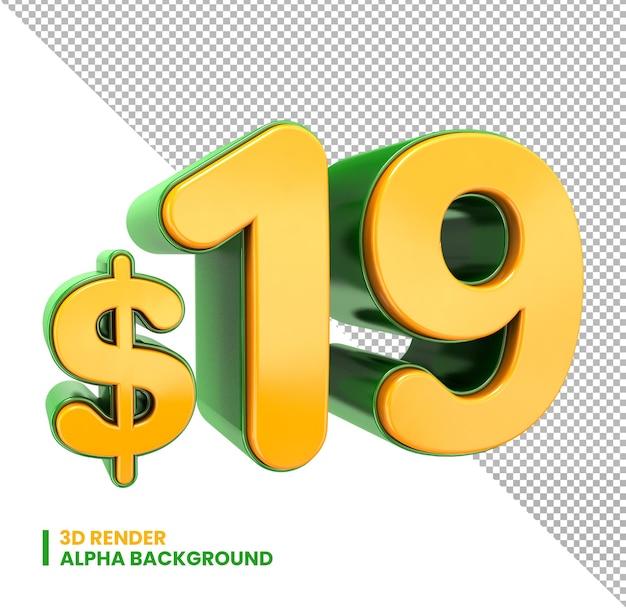 19 dollar price symbol 3d render