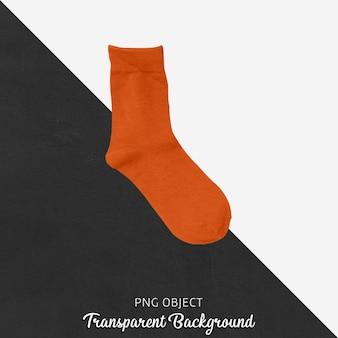 透明な背景に1つのオレンジ色の靴下