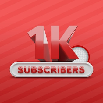 1k youtube channel subscribers 3d render