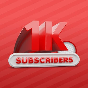 1k youtube channel subscribers 3d rendering