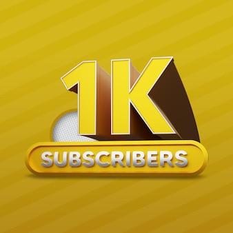 1k youtube subscribers golden 3d rendering