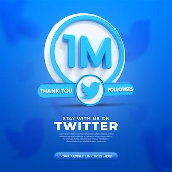 1m twitter followers celebration banner for use in social media post template