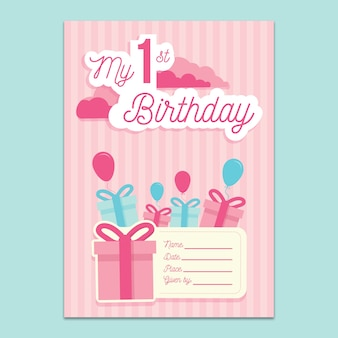 1st birthday invitation mockup