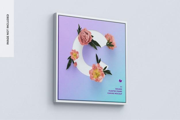 1x1 square canvas mockup in floater frame Premium Psd