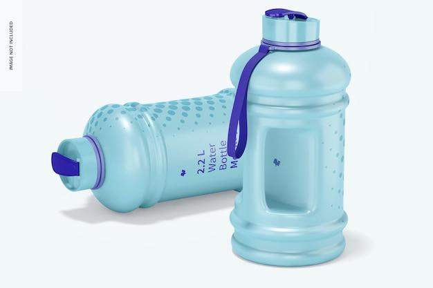 Мокап бутылки с водой 2,2 л, упал