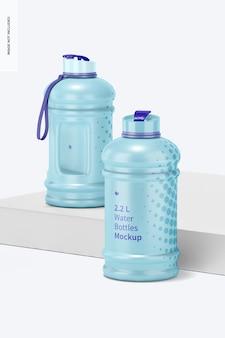 Мокап бутылок с водой 2,2 л, перспектива