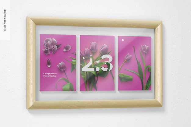 2:3 collage picture frame mockup, left view